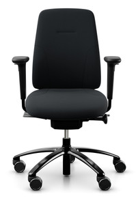 QUICK SHIP RH New Logic 200 Ergonomic Task Chair - Black - Front