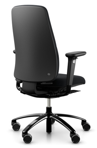 QUICK SHIP RH New Logic 220 Ergonomic Task Chair - Black - Rear