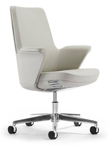 Humanscale Summa Executive Conference Chair - Glacier Leather - Leather Shell - Polished Aluminium Base