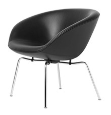 Fritz Hansen Pot Lounge Chair - Aura Leather Black - Chrome Base
