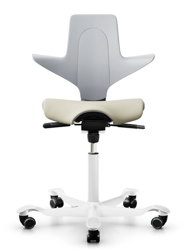 quick ship hag capisco puls 8020 saddle chair - light grey shell - sprint hurdle fabric - white base - front view