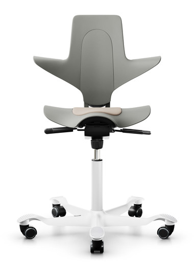 quick ship hag capisco 8010 saddle chair - clay plastic - white metal base - camira sprint relay fabric - front view