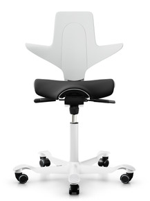 quick ship hag capisco puls 8020 saddle chair - white shell - camira nexus NEX013 black fabric - white base - front view