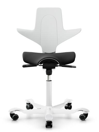 quick ship hag capisco puls 8020 saddle chair - white shell - camira nexus NEX013 black fabric - white base - front view