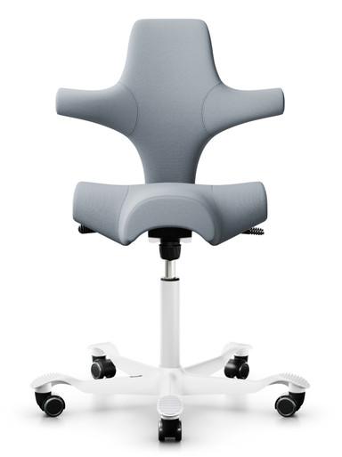 quick ship hag capisco 8106 saddle chair - gabriel select SC60139 fabric - white aluminium base - hard black castors - front view
