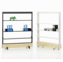 Vitra Dancing Wall Mobile Partitions - Shelving - Basic Dark & Soft Light - Natural Spruce