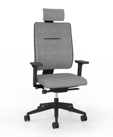 Viasit Toleo Task Chair 650-2000 - Upholstered Back - Black with optional armrests and headrest