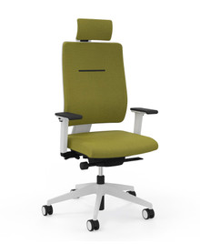 Viasit Toleo Task Chair 651-2000 - Upholstered Back - Light grey with optional armrests and headrest - Front view