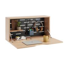 Bisley Hideaway Wall Desk - In Use - Oak Laminate & Black