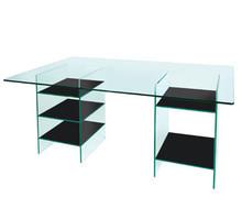 Greenapple Glass Desk with Black Shelves