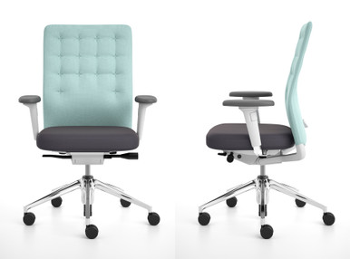 Vitra ID chair in Trim format shown in front and side profile with adjustable T arm
