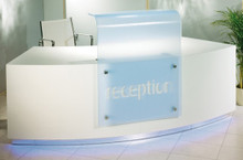 Product code: CTR 03. White base structure with floating glass effect make for a light and airy feel to this reception desk Available in a range of sizes and finishes. To request more information on this or other ranges please click here.