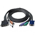 10' PS/2 Style 3-in-1 KVM Cable with Audio - DB25 Male On One Side and Mini Din 6 - Male X 2, 3.5mm Male X 2 & HD15 Male On The Other Side