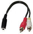 """3"""" 3.5mm Female to 2 RCA Male Y-Splitter Cable"""