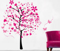 Pink Hearts Trees Wall Decals