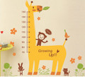 Giraffe, Monkeys, Height Measure Wall Decals