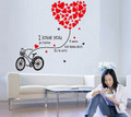 Bicycles, Red Heart Wall Decals