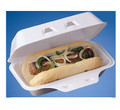 Hot Dog CARRY OUT FOAM CONTAINER HINGED LID - 8''x4''x3''- 100/case
