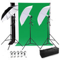 Photo Studio Lighting Kit with 3 Umbrella & 3 Backdrop stand Muslin