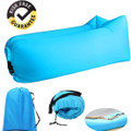 Blue Inflatable Lounger - Outdoor Waterproof Air Filled with  Travel Bag for Camping, Hiking, Traveling, Beach and Pool Party