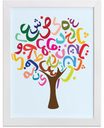 Persian Alphabet Tree Art Print