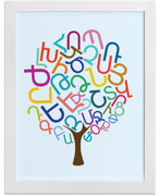 W Armenian Alphabet Tree Art Print
