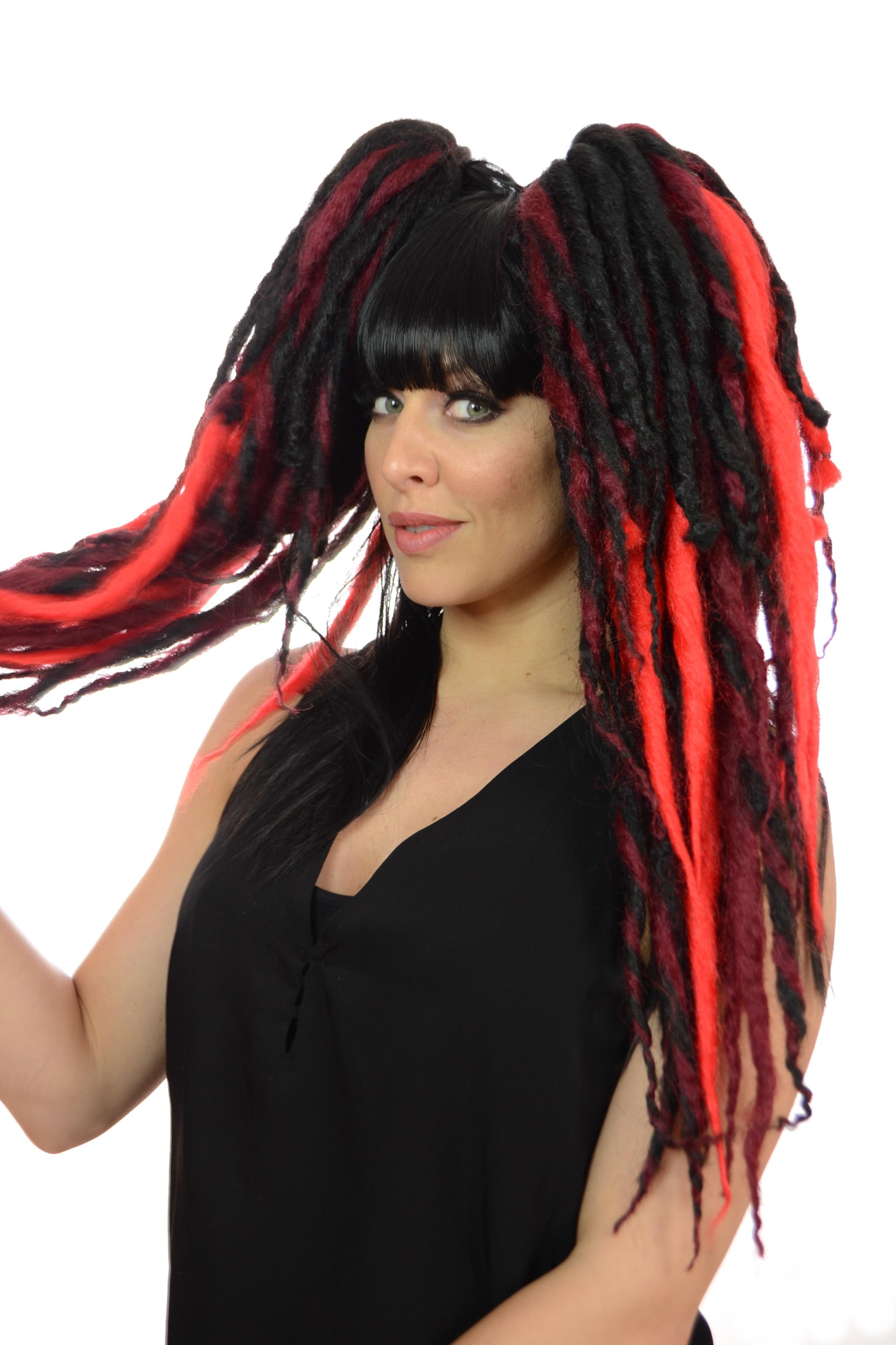 Lottie Long Dreadlock Ponytail Wig 3 Bright Shades