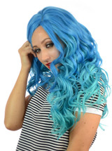 Blue Aqua Lace Front Wig Carnival Doll