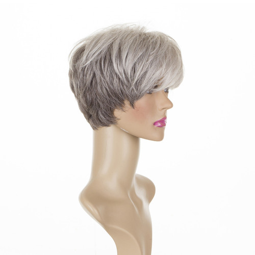 Gloria - Silver Shadow Short Mature Cropped Wig