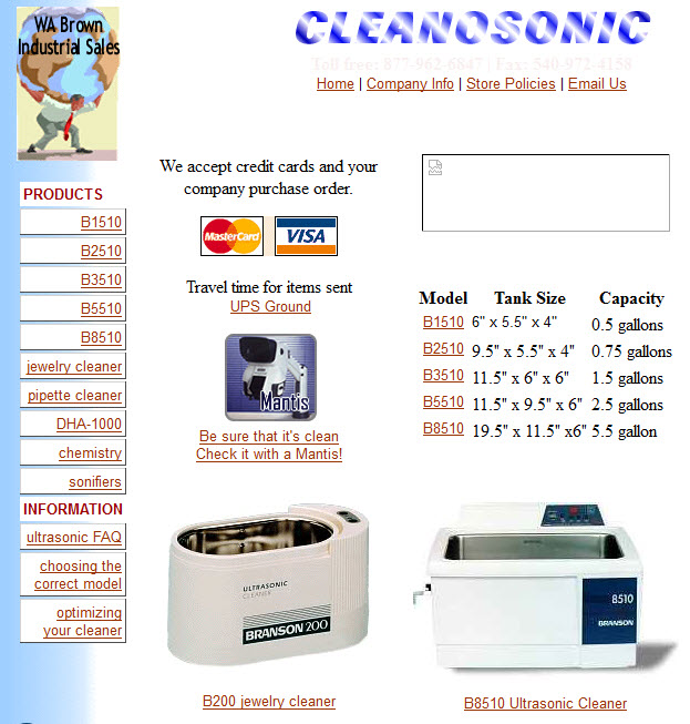Cleanosonic.com circa 2001