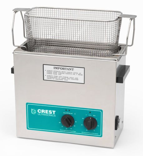 Crest CP500 Ultrasonic Cleaner shown with all stainless steel parts basket.