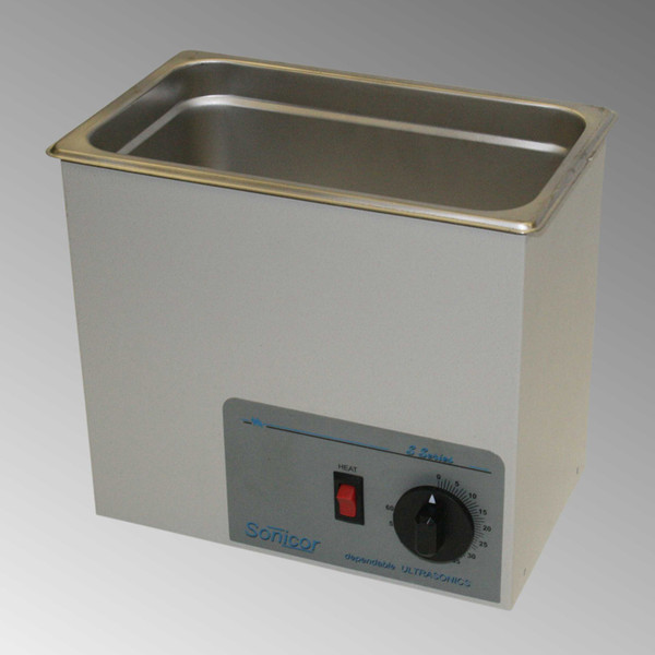 Sonicor S-101 Ultrasonic Cleaner, Model S-101TH Shown.
