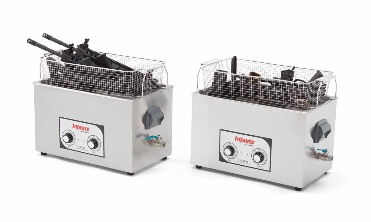 S20 ultrasonic gun cleaner in use with baskets