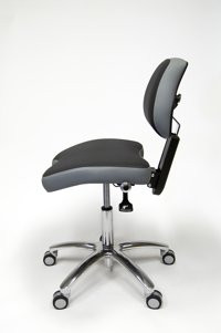 he BackUp® (USA design patented) is a work stool with a unique hydraulic system. The hydraulic system allows the user to determine the amount of leg support desired without cutting off circulation to the back of the legs. This allows the user to sit in higher working positions, reduce pressure on the discs, and prevents the pelvis from rotating backwards. The convex lumbar support allows for optimal freedom of movement, while activating stretching of the spine. The BackUp® is the perfect solution for people who do not like saddle style stools.
