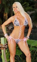 Pink/Black and White Boa Rhinestone Link Bikini