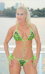 Green Animal Print Rhinestone Link Bikini