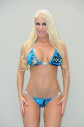 Blue Animal Print Chain and Hearts Bikini