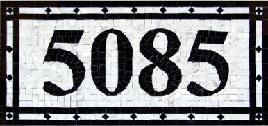 Mosaic-House-Numbers- Venice – H1P- Custom-Made-Sign-house-numbers. This handmade custom mosaic house number plaque is made from 3/8″ polished marble tiles. It can be ordered as is, choosing