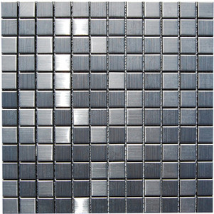"Stainless-Steel-Mosaic-backsplash-tile-kitchens-Wall. Product - ML100 M Stainless Steel 7/8"" x 7/8"""