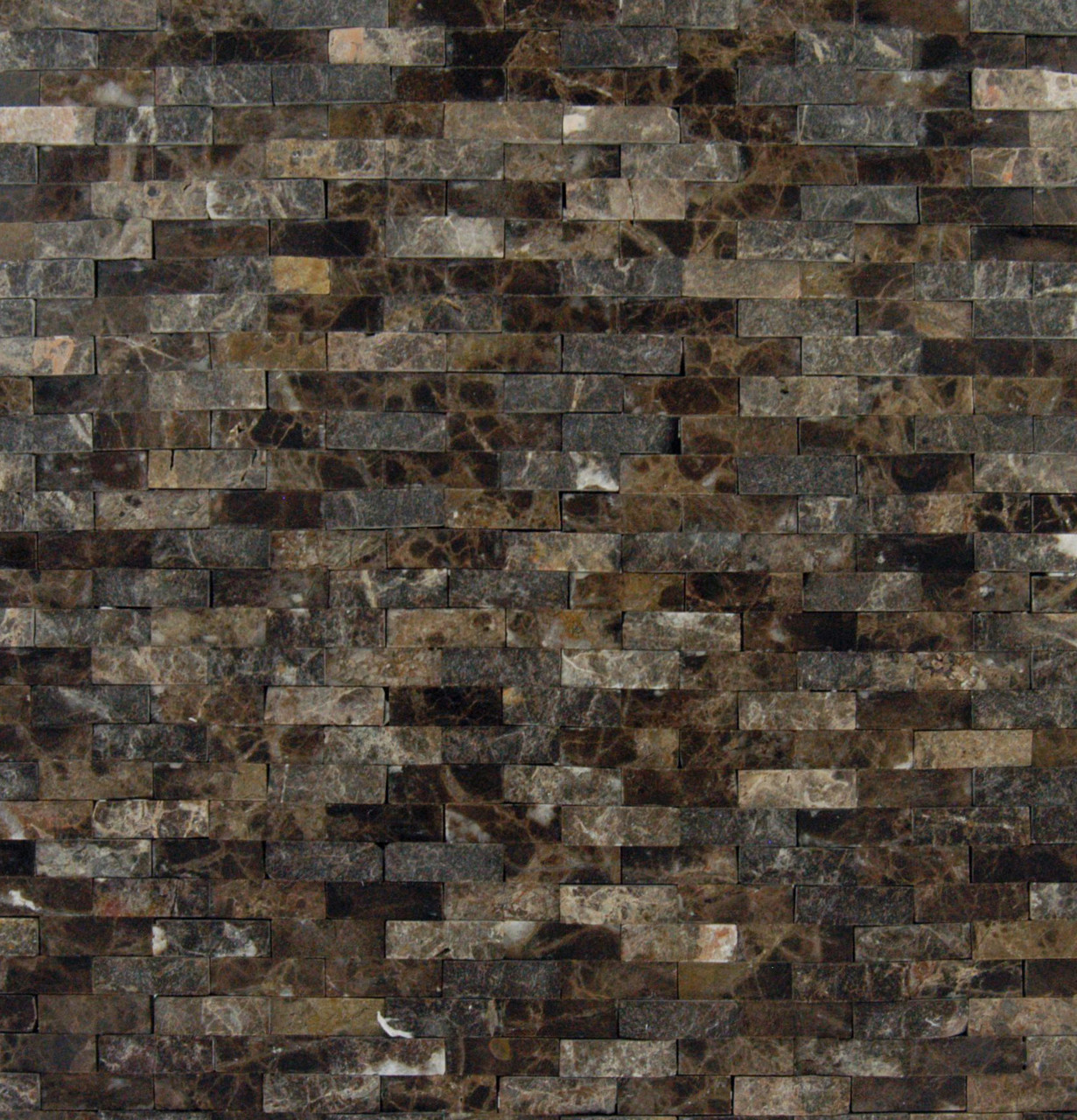 Emperador Splitface Mounted Marble Mesh Glazed And Textured Mosaic In Brown