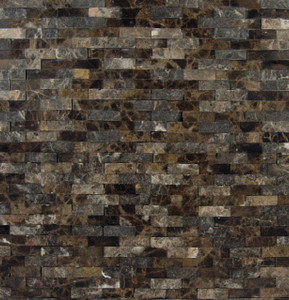MS International Emperador Splitface Mounted Marble Mesh Glazed and Textured Mosaic in Brown