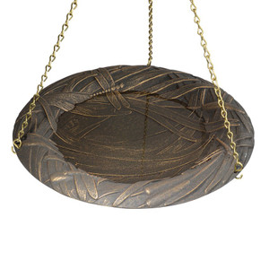 Whitehall Products Oil Rub Bronze Dragonfly Hanging Bird Bath