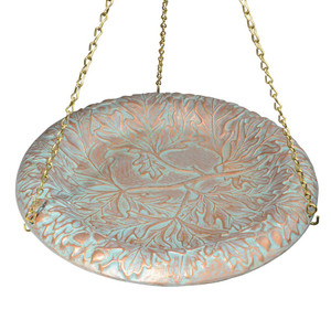 Whitehall Products Copper Verdi Oakleaf Hanging Bird Bath
