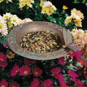 Whitehall Products Copper Verdi Dragonfly Garden Bird Feeder