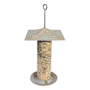 Whitehall Products Copper Verdi Dragonfly Tube Bird Feeder