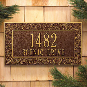 Oakleaf Standard Wall Two Line Address Plaque