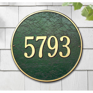 "This round plaque may be ordered with either text or numbers. Available in a Wall Mount only. Each plaque is crafted from rust-free recycled aluminum, with paints that have been specially formulated to withstand the harshest elements. Mounting hardware is included. holds up to three 7"" numbers or five 4.5"" numbers. Dimensions: 15"" x 15"""