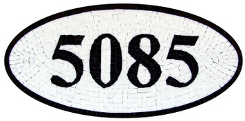 Mosaic-House-Number-Custom-Made-Sign-house-numbers-marble. Product Name – Paris – H1P  This handmade custom mosaic house number plaque is made from 3/8″ polished marble tiles. It can be ordered as is, choosing the colors that you see below.  You can also choose your own colors by reviewing the color samples link below to make your own color combination. The size and price for these beautiful and elegant mosaic house numbers will change depending on how many numbers are in your plaque.  Colors As Sown in Photo are –  Background Color: Tasos White Border & Number Color: Black  Size As Shown in Photo is  – 9 1/2″ h x 20″ w