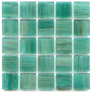 Dragonfly Teal 0.75 x 0.75 Glass Mosaic Tile