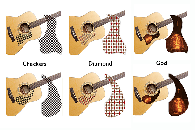 healing shield acoustic guitar pickguard designer theme sv guitars